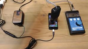プラグインアース用充電兼接続ケーブル iphone 接続後